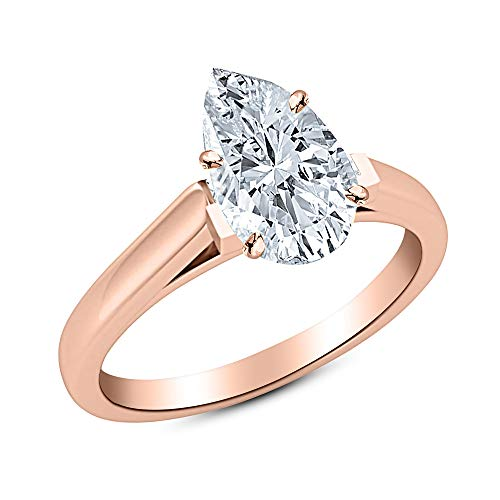 - 1.5 Ct Pear Cut Cathedral Solitaire Diamond Engagement Ring 14K Rose Gold (H Color VS2 Clarity)
