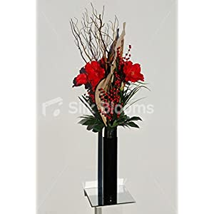Artificial Red Amaryllis & Berry Vase Display Floral Arrangement 81