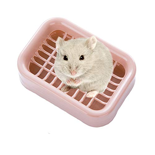 HenryDong Hamster Small Trainer Corner Litter Box, 4.9inch, 1/3 Pack, Plastic Scatterless No Litter Small Pet Pan, Excreta Container for Hamster, Mice, (Blue, Green, Pink)