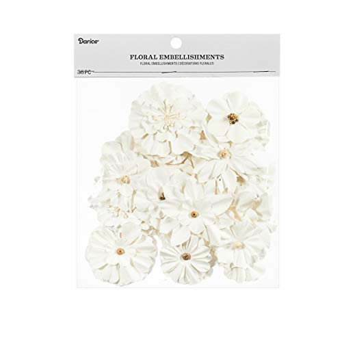 Darice 30061970 Paper Flowers Floral Embellishments: White, 2.5 inches, 36 -