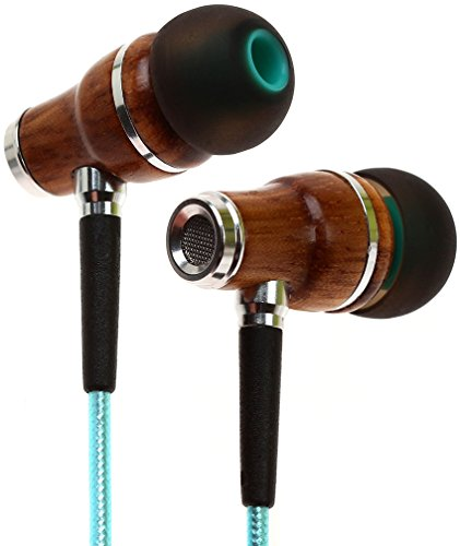Symphonized NRG 2.0 Earbuds | Wood In-ear Noise-isolating Headphones | Earphones with Mic and Innovative Shield Technology Cable (Turquoise)