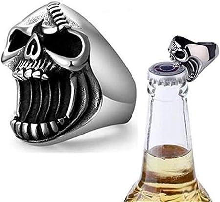 Quazilli Abridor de Cerveza Creativo en Forma de Anillo Anillos de Calavera de Halloween, Acero Inoxidable Punk Rock Biker Anillo gótico Abridor de Botellas de Cerveza para Hombre niño