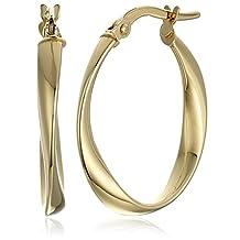 14k Yellow Gold Twisted Oval Hoop Earrings