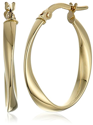 14k Gold Oval Design (14k Yellow Gold Twisted Oval Hoop Earrings)