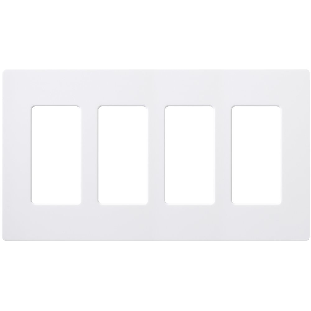 LUTRON CW-4-WH 4-Gang Claro Wall Plate, White