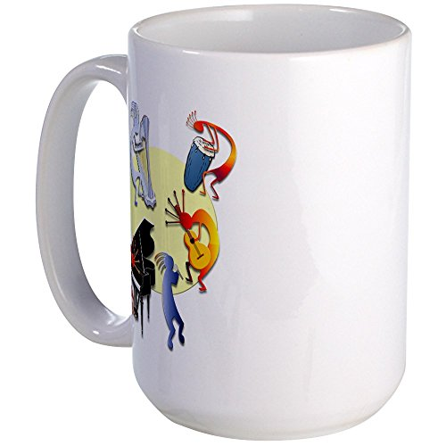 CafePress - Five Kokopelli Band Large Mug - Coffee Mug, Large 15 oz. White Coffee Cup (Drum Design Kokopelli)