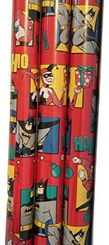 Gift Wrap - DC - Featuring Batman,Joker and Harley Quinn - Wrapping Paper 20 sq ft. 1 -