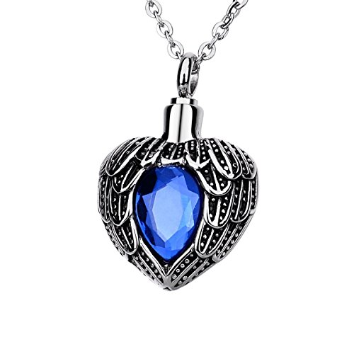 Norya Angel Wing Birthstone Cremation Urn Necklace Heart Memorial Urn Pendant Stainless Steel Cremation Jewelry (September) -
