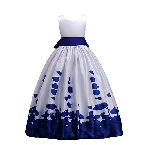 IBTOM CASTLE Little Big Girls Long First Communion Princess Dresses 7-16T Flower Pageant Party Wedding Bridesmaid Royal Blue 14-15 Years -