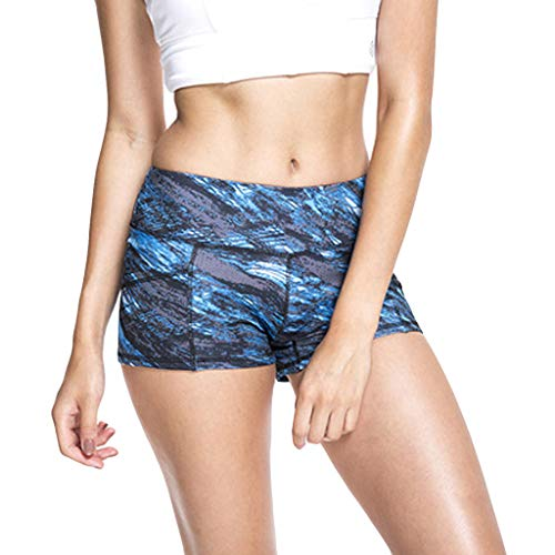 iHPH7 Women's Shorts, Running Workout Athletic Shorts Printed High Strength Quick Dry Sports Running Fitness Yoga Shorts (L,3- Blue)]()