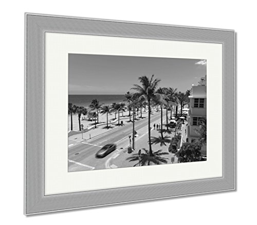 Ashley Framed Prints Fort Lauderdale Beach, Wall Art Home Decoration, Black/White, 30x35 (frame size), Silver Frame, - To Olas Las Directions