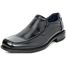 Bruno Marc Men's Goldman-02 Black Leather Lined Square Toe Dress Loafers Shoes - 12 M US