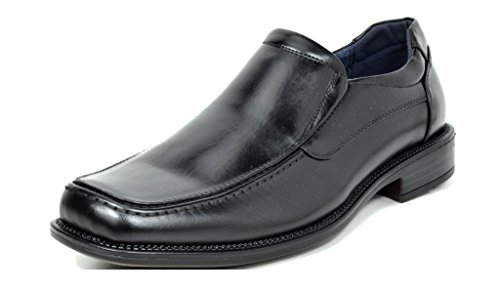 Bruno Marc Men's Goldman-02 Black Leather Lined Square Toe Dress Loafers Shoes - 11 M US