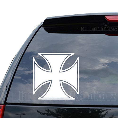DiamondCutStickerz Maltese Iron Cross Knight Templar Decal Sticker Car Truck Motorcycle Window Ipad Laptop Wall Decor - Size (05 inch / 13 cm Tall) - Color (Gloss White)