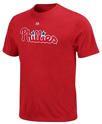 - VF Philadelphia Phillies MLB Mens Majestic Wordmark Shirt Red Big & Tall Sizes (3XL)