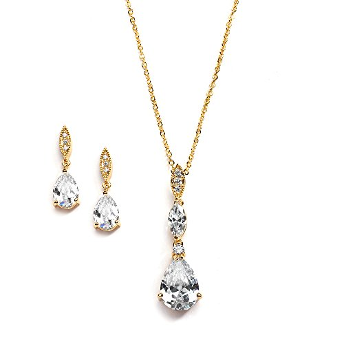 Mariell 14K Gold Plated Pear-Shaped CZ Bridal, Bridesmaids or Prom Necklace and Earring Set by Mariell
