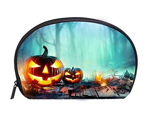 Custom design Portable Toiletry Cosmetic Bag Pumpkins Burning In A Spooky Forest At Night Halloween Background Travel Cosmetic Case Luxury Makeup Artist Bag ()