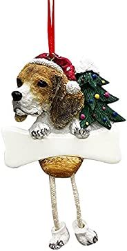 Beagle Ornament with Unique Dangling Legs Hand Painted and Easily Personalized Christmas Ornament