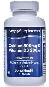 Calcio 500mg y Vitamina D3 200iu - 120 Comprimidos - Hasta 4 meses de suministro - Huesos fuertes & Dientes sanos -SimplySupplements