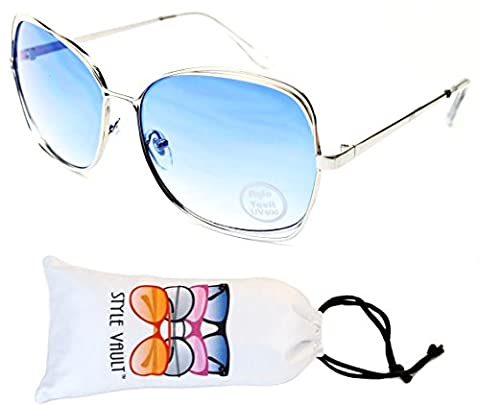 A146-vp Style Vault Polygon Metal Butterfly Sunglasses (E3144G Silver-Blue Smoked, uv400) - Wire Frame Gradient Sunglasses