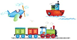 Platin Art Wall Decals Deco Sticker, Boats, Planes and Trains