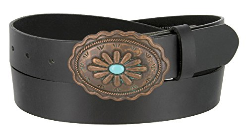 Susanna Southwestern Turquoise and Copper Buckle Genuine Leather Belt for Women(Black, 34) (Copper Womens Belt Buckle)