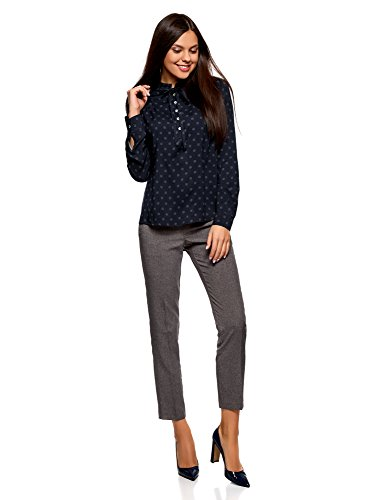 Ultra et Jersey Textur Bleu 7975d oodji Femme Tissu Blouse en n4dqxgCq