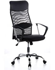 hjh OFFICE 621100 Executive Chair / Office Chair ARIA HIGH Black Mesh / Faux Leather / Chrome
