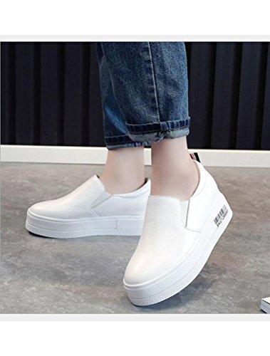 Véritable Ascenseur Blanc Femmes Plateforme Cuir Chaussures Compensées MatchLife BwqRO