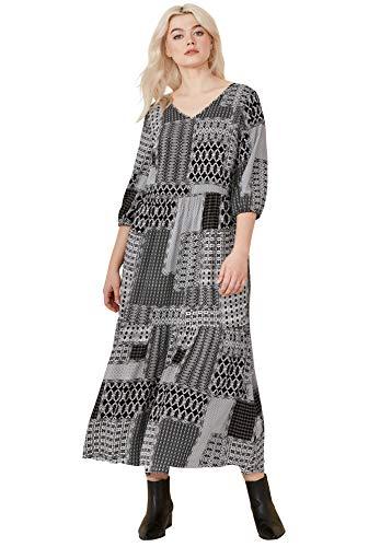 (Ellos Women's Plus Size Printed Tiered Maxi Dress - Black White Patchwork Print, 26)
