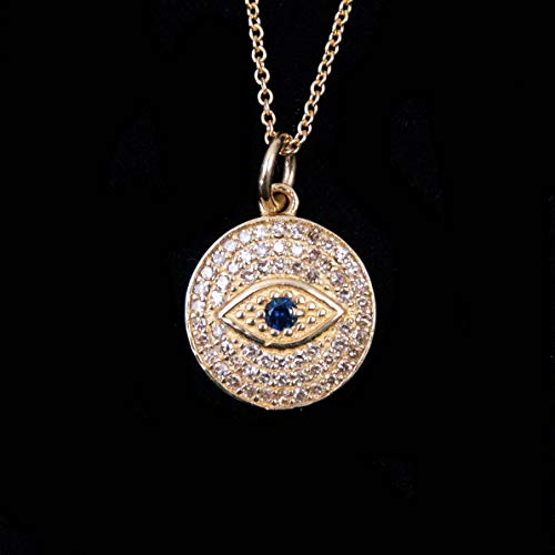 14kt Gold, White Diamond, and Blue Sapphire Evil Eye Charm Necklace - 14, 15, and 16 Inches Long Adjustable Length Necklace by Miller Mae Designs