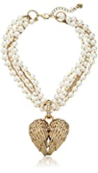 "Betsey Johnson ""Heaven Sent"" Crystal Wing Heart Pearl Pendant Necklace, 17"" + 3"" extender"