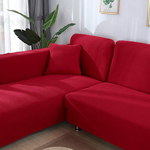 Hengwei Sectional Sofa Cover Stretch Couch Slipcover 1 Pcs DIY (Buy 2/3 for L / U Shape Sofa)-Soft Polyester Fabric Form Fit Furniture Protector for Kids Pets Home Gift(Red, A-3 Seat 74-90in)