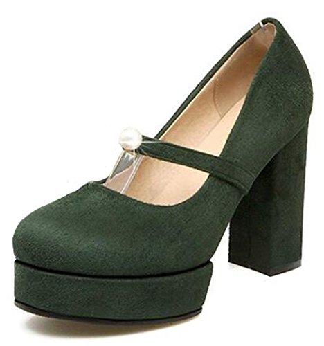 Easemax Womens Fashion Faux Suede Round Toe Belt High Block Heel Platform Pumps Shoes Green 4lZCsGUHG