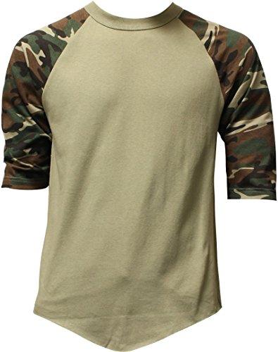 Casual Raglan Tee 3/4 Sleeve TShirt Baseball Jersey XL Olive Camo, X-Large,