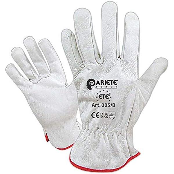 Vgo 1Par EN388 Nivel C y ANSI A3 Guantes de Trabajo de Piel de Cabra de Grano Superior Resistentes al Corte Talla 8//M, Blanco, GA9501HY