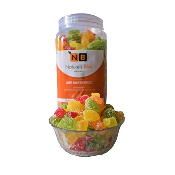 Nature's Bliss Fruit Jelly Bites/ Jelly Candy / Jelly Toffee/Jelly Beans 900gm Quality Product [F D] Jar Packing