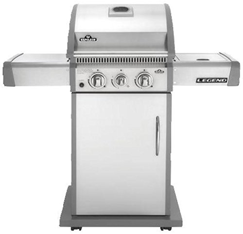 Napoleon LA Series LA200SBNSS Natural Gas Grill With Side Burner On Cart 2 Burners 35 000 BTUs Grilling Surface Cast Iron Cooking Grid 2 Side Shelves 435 Sq. Inches Grilling Area In Stainless