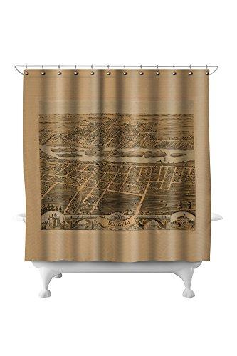 Batavia, Illinois - Panoramic Map (71x74 Polyester Shower Curtain) Batavia Bath
