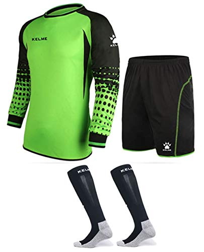 Goalkeeper Shirt Uniform Bundle - Includes Jersey, Shorts & Socks - Protection Pads on Shorts & Shirt (Green, Kids 8)