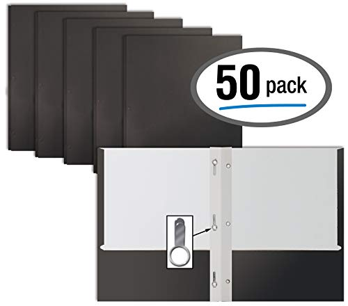 Black Paper 2 Pocket Folders with Prongs, 50 Pack, by Better Office Products, Matte Texture, Letter Size Paper Folders, 50 Pack, with 3 Metal Prong Fastener Clips, Black ()