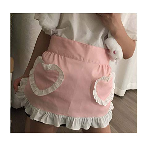 CRB Fashion Waist Apron Kitchen Cooking Restaurant 100% Cotton Bistro Half Aprons with Pockets for Girl Woman (Pink Heart)