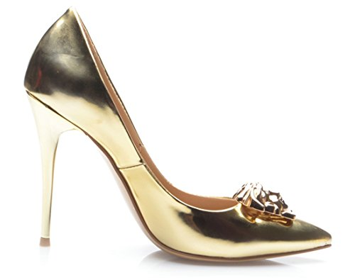 Leather Burnished Heel Evening Gold Pointed Women's TDA Pumps Dress Party Stiletto Toe Metal Shiny Patent nzSg8WwqYx