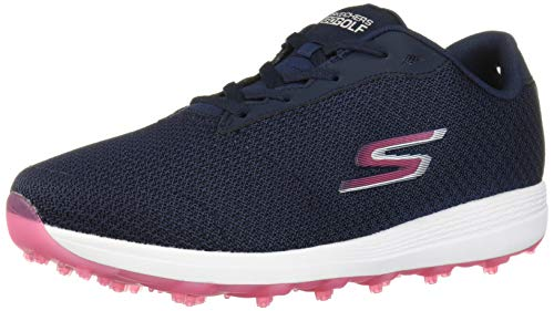 Skechers Women's Max Golf Shoe, Navy/Pink Textile, 8 M US