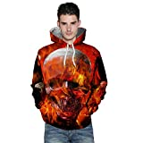 kaifongfu Long Sleeve Sweatshirt,Autumn Winter Mens Autumn Winter 3D Printing Hoodies Blouse(Orange,3XL)