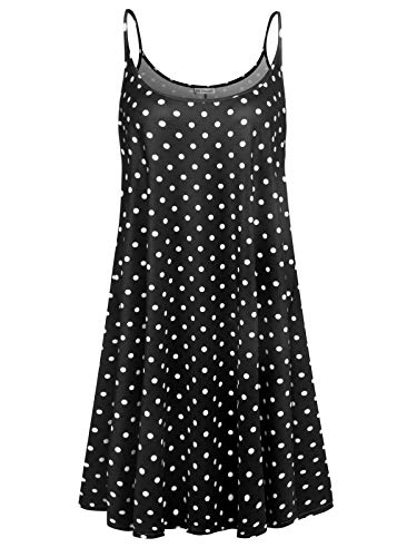 7th Element Plus Size Women's Casual Spaghetti Loose Swing Slip Summer Dress Sundress (Black Polka Dot, 4-XL) ()