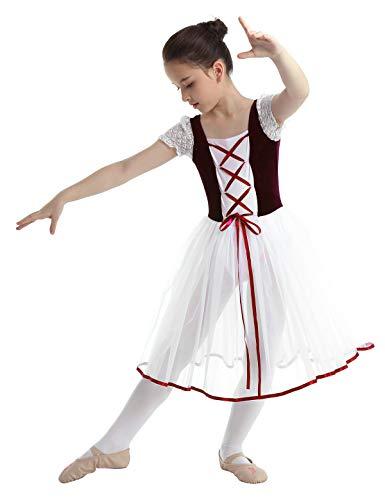 CHICTRY Girls Child Romantic Ballet Tutu Long Fancy Tulle Skating Dress Velvet Top Ballerina Dancewear Burgundy 10-12
