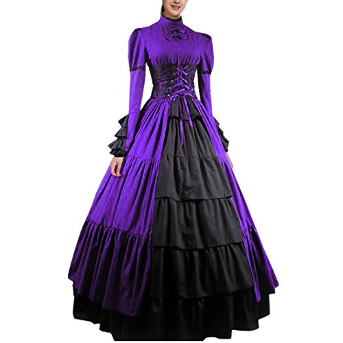 Cheap Victorian Dress (Partiss Women Bowknot Stand Collar Gothic Victorian Dress Costumes,XXL,Purple)