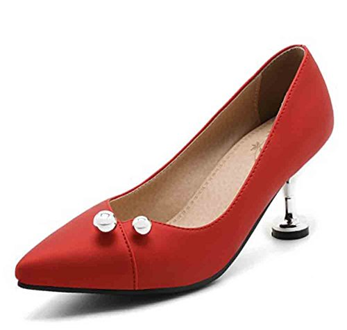 Easemax Kitten Metal Shoes Toe Pumps Womens Heel Low Red Elegant Pointed Mid Beaded Top C6TwCqr