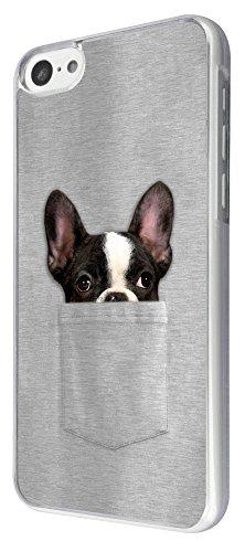 614 - Cute Dog hiding in pocket Design iphone 5C Coque Fashion Trend Case Coque Protection Cover plastique et métal